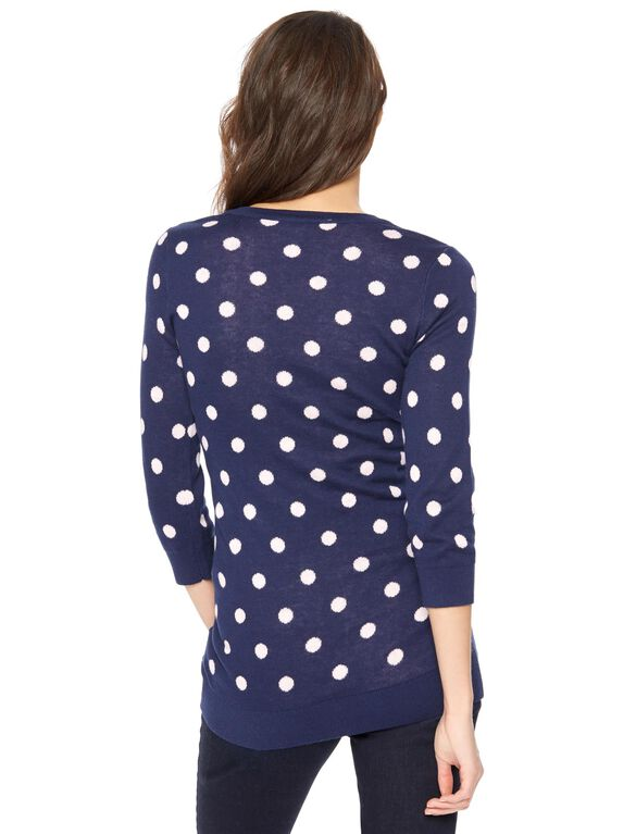 Polka Dot Crew Neck Maternity Sweater, Navy & Pink Dot