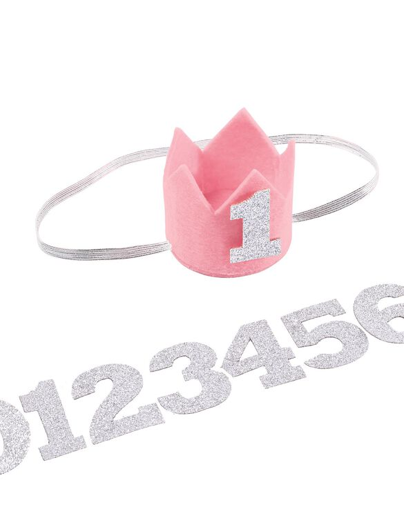 Mud Pie Milestone Crown Headband, Pink