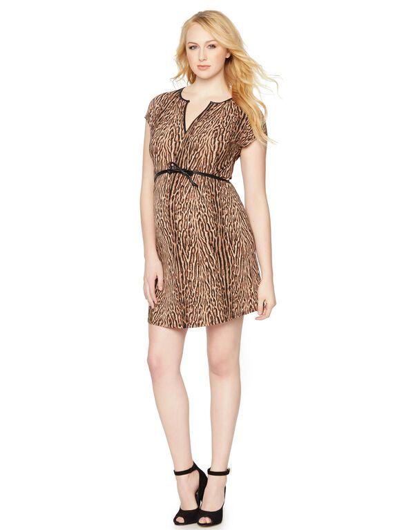 BCBGMAXAZRIA Leopard Print Maternity Dress, Camel Combo