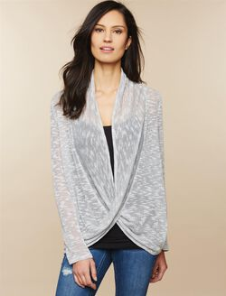 Pull Over Twist Front Nursing Cardigan, Grey