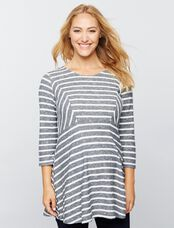 Luxe Essentials Denim Babydoll Maternity Tunic, Stripe