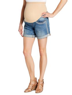 Jessica Simpson Secret Fit Belly Embroidered Denim Maternity Shorts, Medium Wash