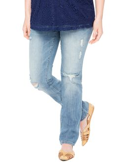 Secret Fit Belly Destructed Straight Maternity Jeans, Oasis Medium Wash