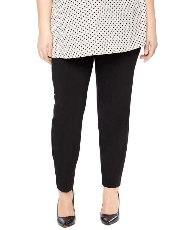 Plus Size Secret Fit Belly Tech Twill Skinny Leg Maternity Pants, Black