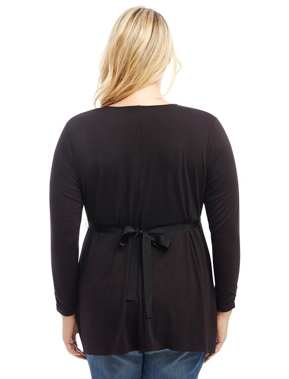 Plus Size Tie Detail Maternity Shirt, Black