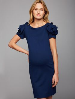 Pietro Brunelli Milano Ruffled Maternity Dress, Navy
