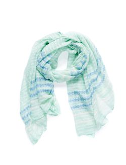 Polka Dot And Zig Zag Print Scarf, Green