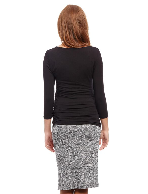 Pull On Style Rib Knit Pencil Maternity Skirt, Charcoal