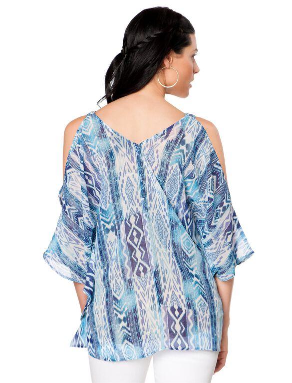 Wendy Bellissimo Cold Shoulder Maternity Top, Blue Print