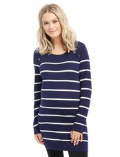 Button Detail Maternity Sweater, Navy/Egret Stripe