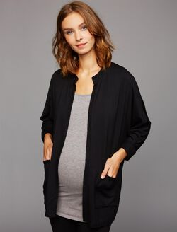 Splendid Open Front Maternity Cardigan, Charcoal