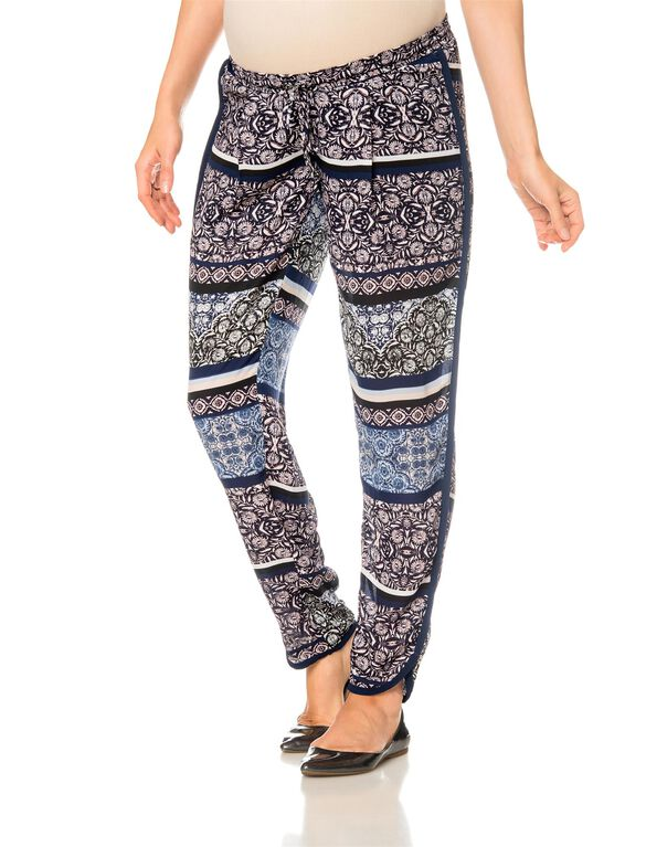 Pull On Style Slim Leg Maternity Pants, Floral Print