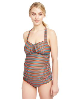 Multi Stripe Tie Detail Maternity Tankini Swimsuit, Multi Mini Stripe