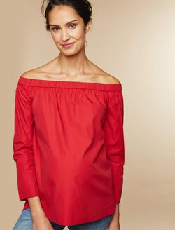 Off The Shoulder Maternity Top, Red