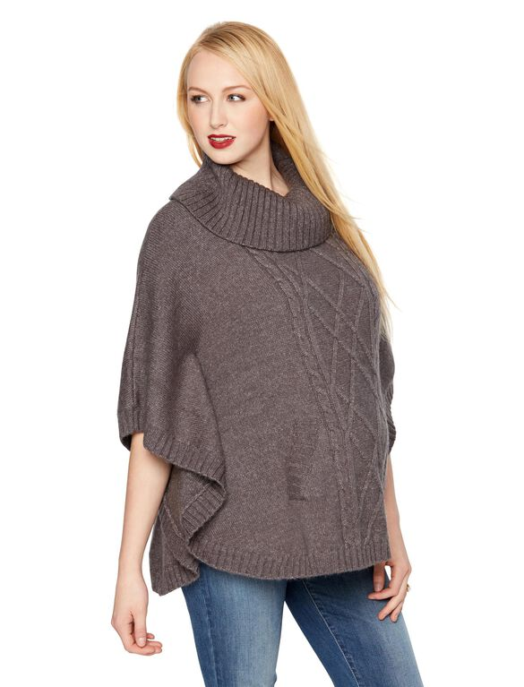 Poncho Maternity Sweater, Med Heather Grey