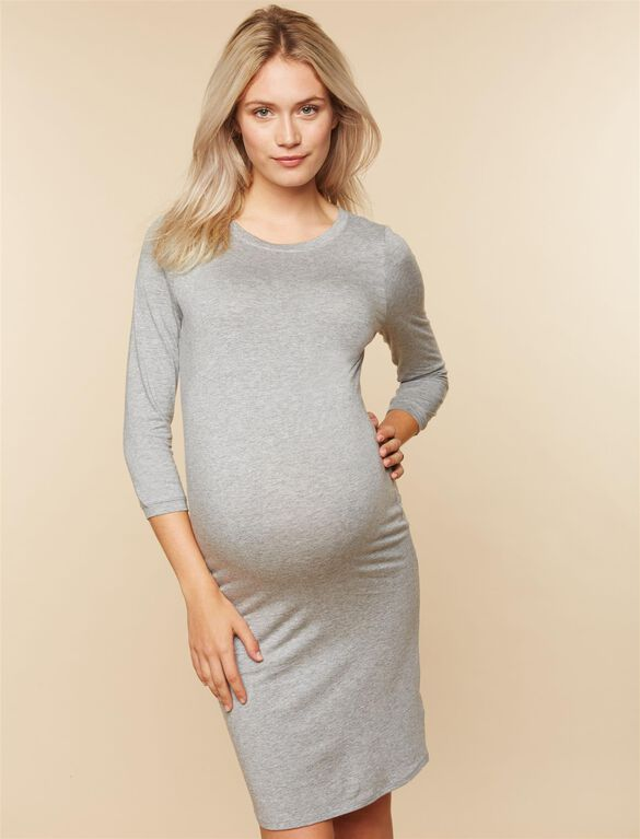 3/4 Sleeve Maternity T-Shirt Dress, Light Grey