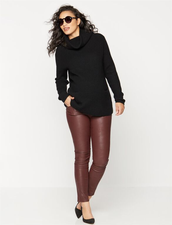 Luxe Essentials Denim Secret Fit Belly Coated Maternity Jean, Burgundy