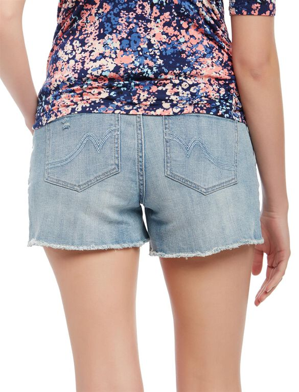 Secret Fit Belly Fray Hem Maternity Shorts, Sunbleach Light Wash