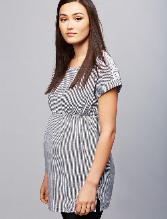 Lace Shoulder Striped Maternity Tunic, Black/White Stripe