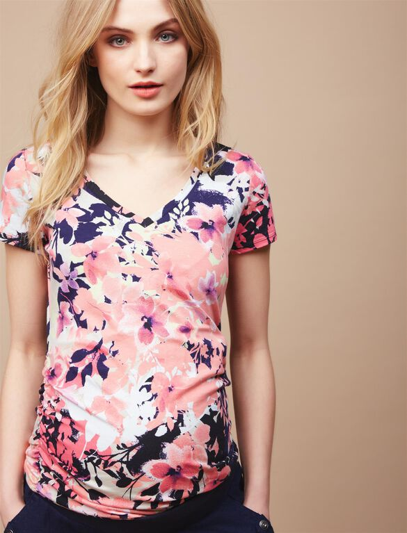 V-neck Side Ruched Maternity Tee, Pink/Yellow Floral
