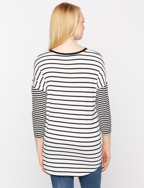 Drop Shoulder Maternity Shirt, White/Black Stripe