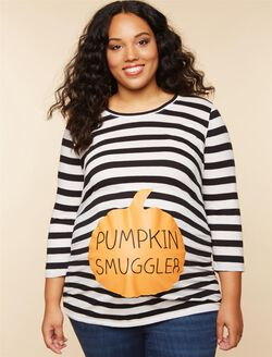 Plus Size Pumpkin Smuggler Maternity Tee, White/Black Stripe