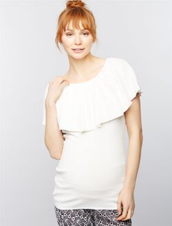 Pleated Off The Shoulder Maternity Sweater, Soft White