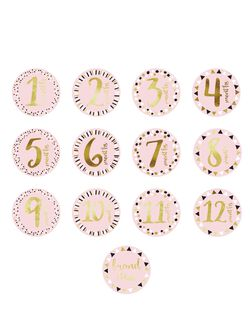 Pearhead 1st Year Foil Belly Stickers, Pink