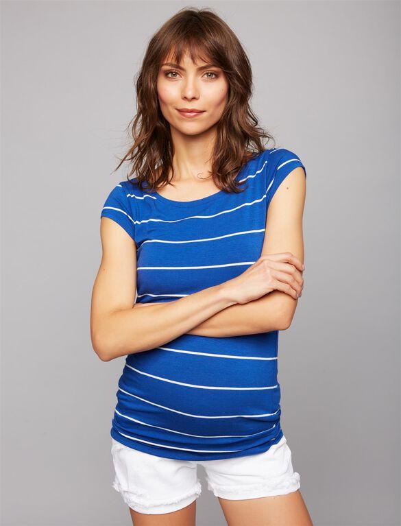 Boat Neck Maternity Tee- Stripe, Blue/White Stripe