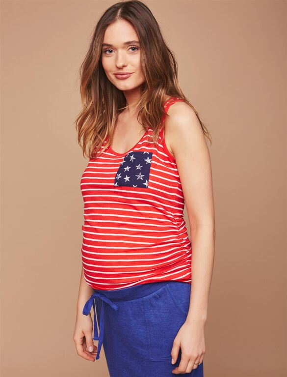 Stars and Stripes Maternity Tank, Red White Stripe