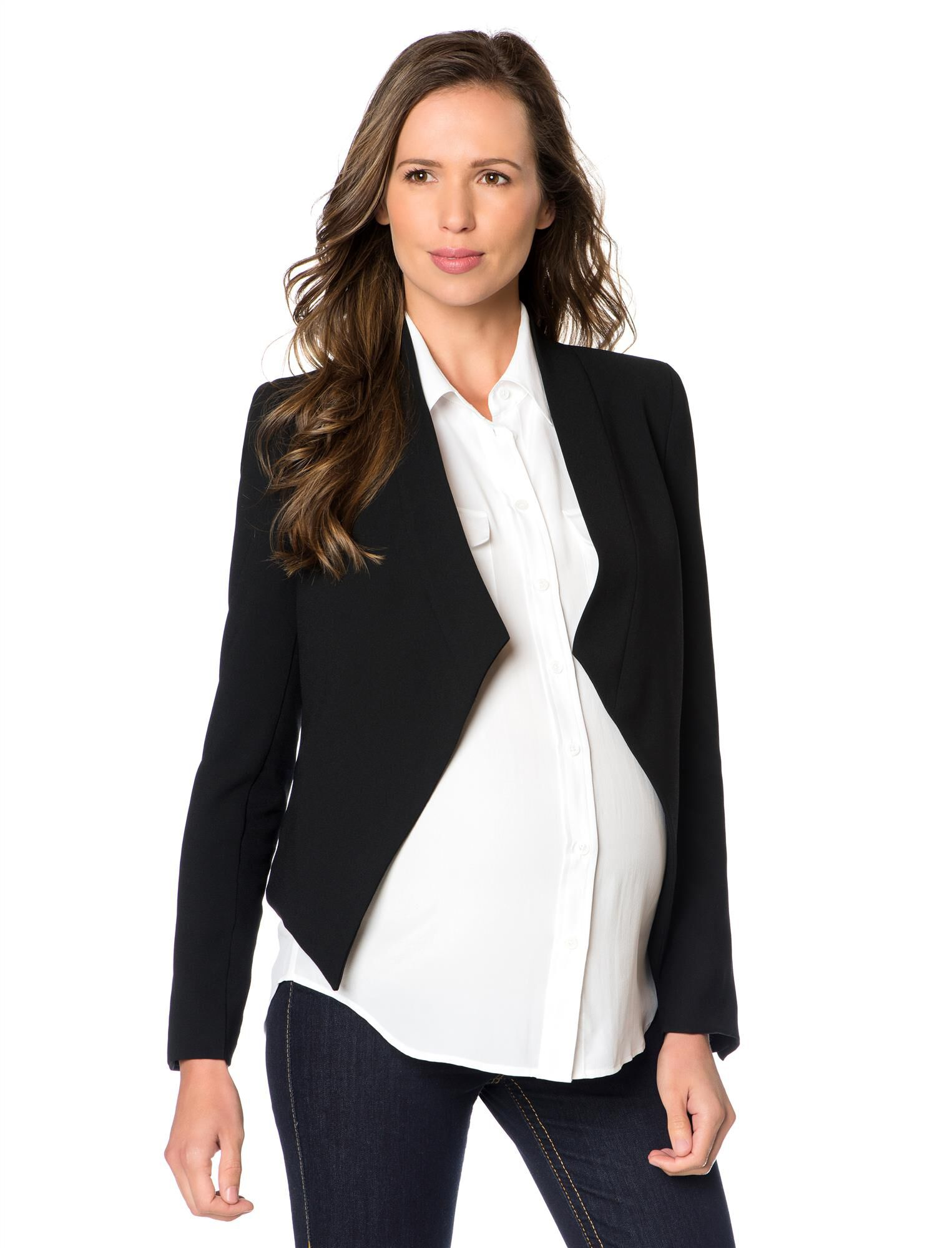 Open Front Crepe Maternity Jacket