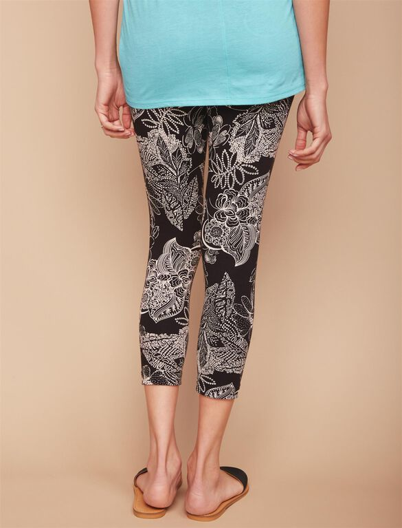 Secret Fit Belly Printed Maternity Crop Leggings- Black/White Floral, Black/White Floral