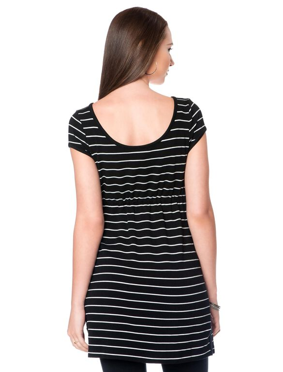 Drawstring Maternity Tunic, Black/White