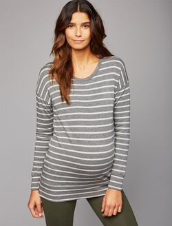 Layering Maternity Sweatshirt, Grey Stripe