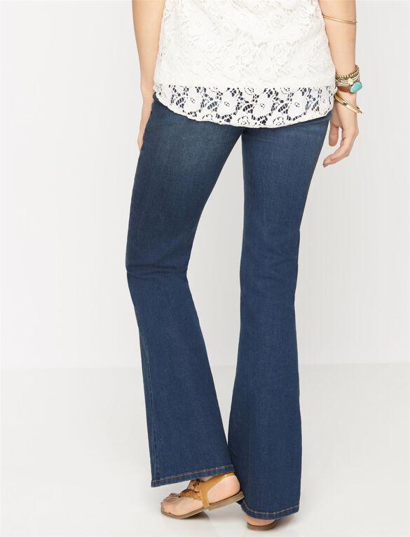 Luxe Essentials Denim Secret Fit Belly Maternity Flare Jeans, Dark Wash