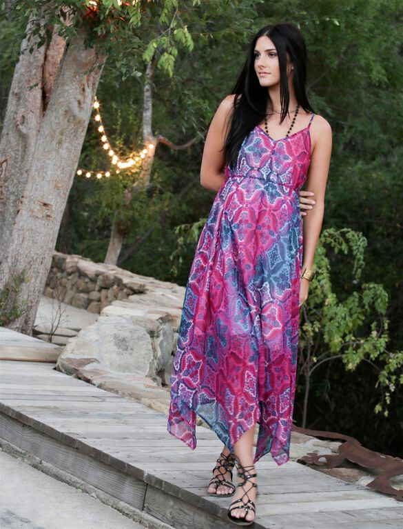 Wendy Bellissimo Hanky Hem Maternity Dress, Pink/Blue Print