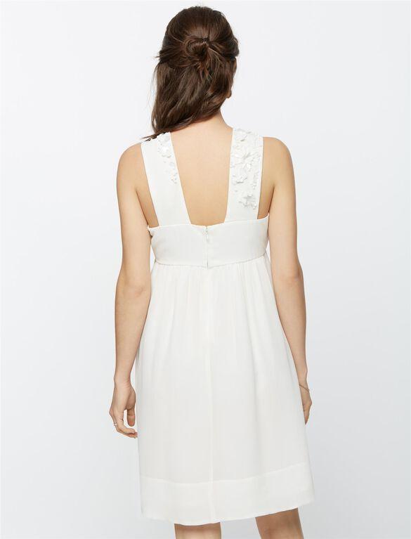 Silk Beaded Detail Maternity Dress, White