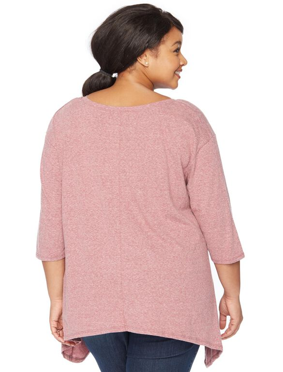 Wendy Bellissimo Plus Size Love Grows Here Maternity Tee, Burgundy