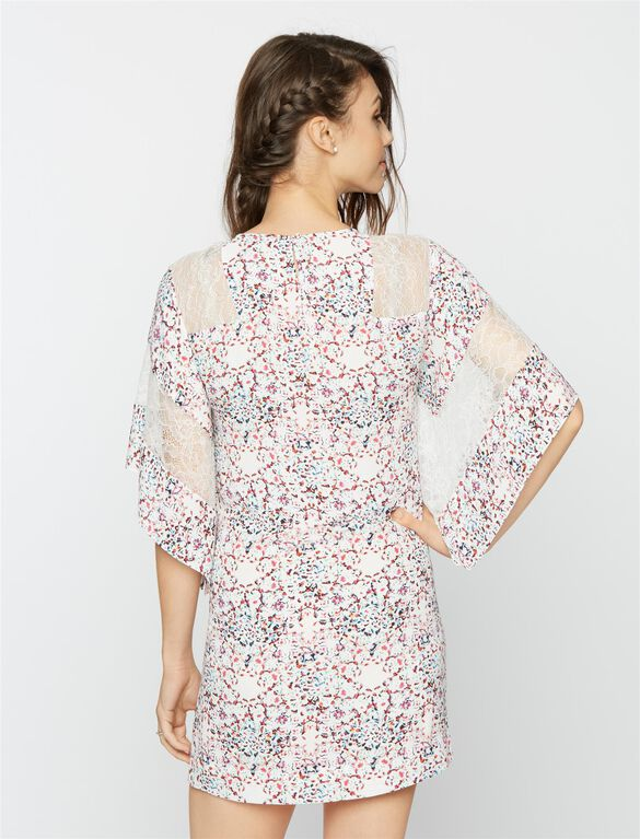 BCBGMAXAZRIA Lace Floral Maternity Dress, Begonia Combo