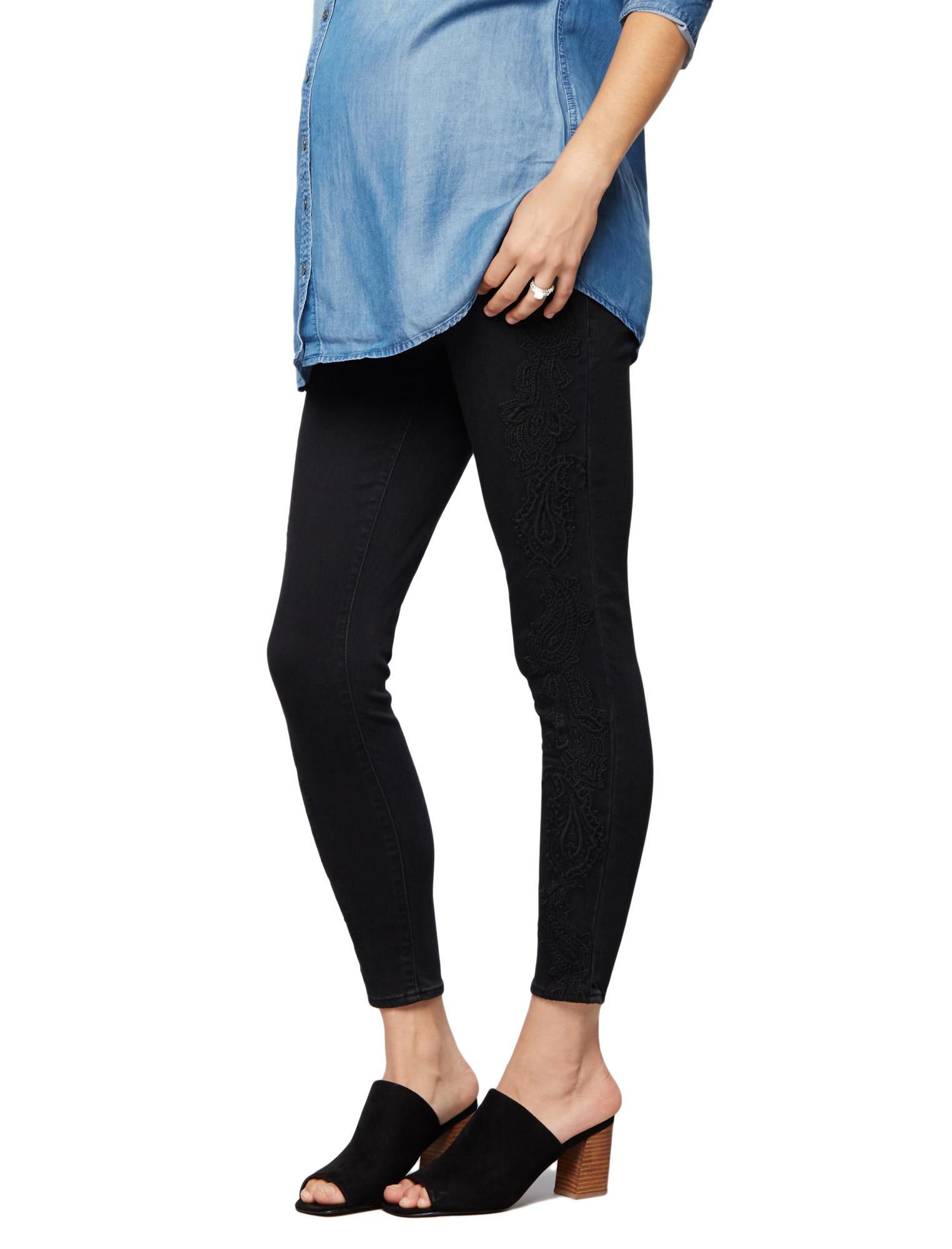 Luxe Essentials Denim Secret Fit Belly Embroidered Skinny Ankle Maternity Jeans