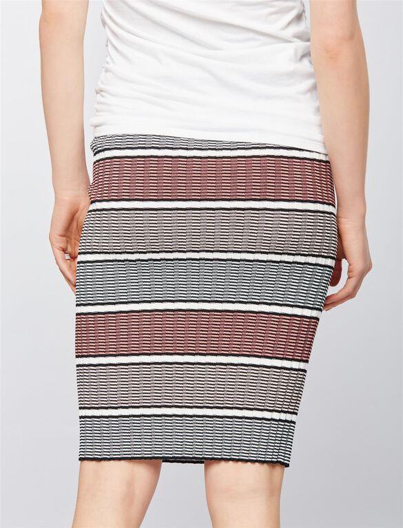 Under Belly Rib Knit Maternity Midi Skirt, Pink Stripe
