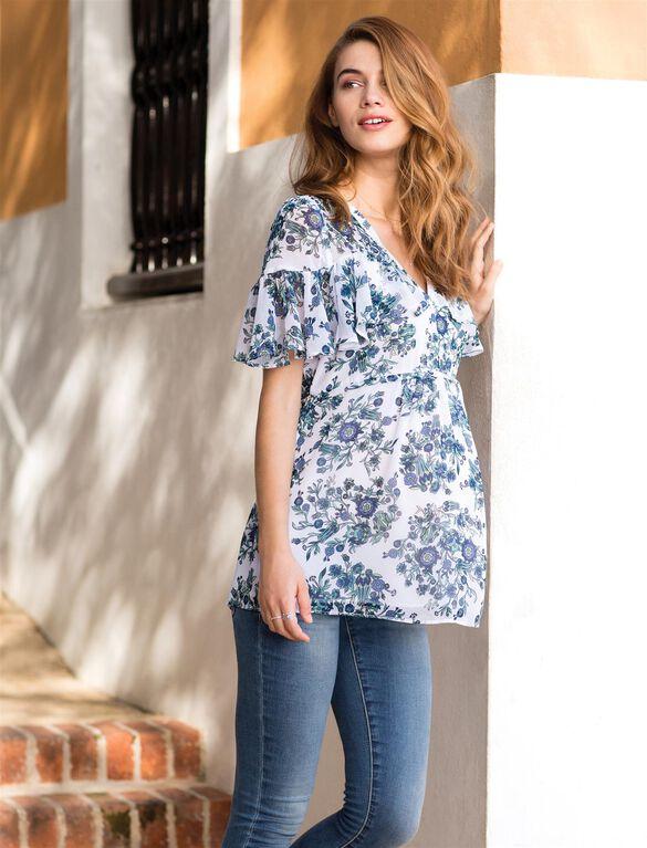 Ruffle Trim Floral Maternity Blouse, Blue Floral