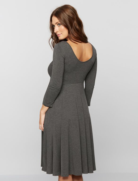 Babydoll Maternity Dress, Heather Grey