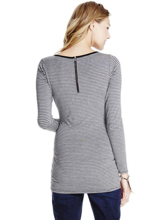 Jessica Simpson Zipper Detail Maternity Top- Grey/Black, Gray/Black Stripe