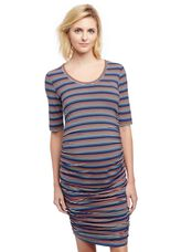 Side Ruched Maternity Dress- Stripe, Multi Stripe