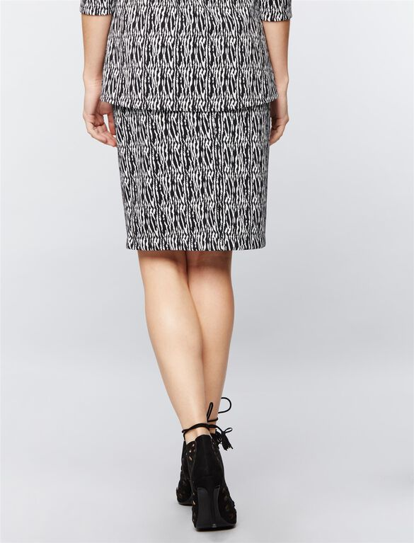 Under Belly Jacquard Maternity Skirt, Blk/Wht Scratch Prnt