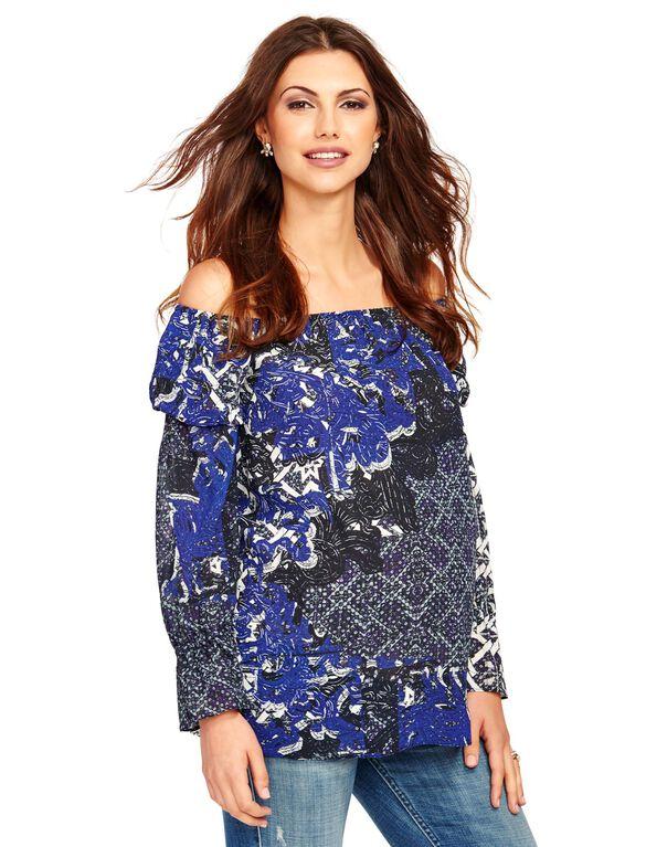 Off The Shoulder Maternity Top, Blue Textile Print