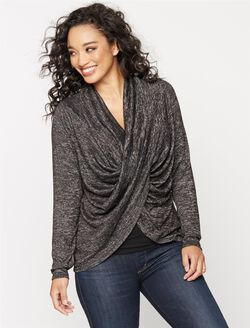 Long Pull Over Cross Front Nursing Top, Grey