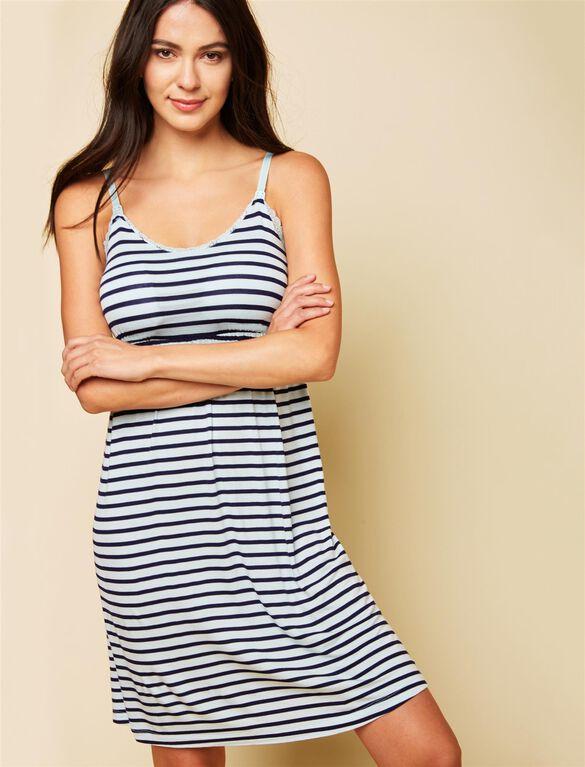 Bump in the Night Nursing Nightgown- Aqua/Navy Stripe, Aqua Wave/Navy