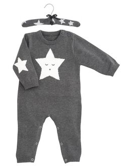 Baby Cable Knit Jumpsuit By Elegant Baby, Grey Star